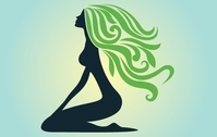 Silhouette Curly Green Hair Lady