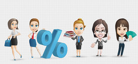Businesswoman Vector Character Set 1