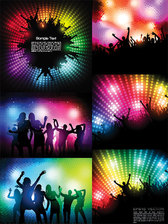 The Trend Of Party Figures Silhouette Vector Material Party Disco Cheering People Silhouette