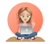 Free Vector Girl With Laptop