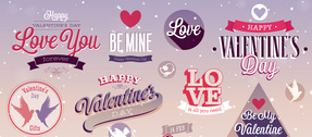 Romantic Valentine's UI Elements Vector Set