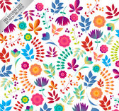 Cartoon flowers and leaves a seamless background
