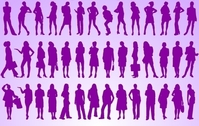 Girls Standing Pack Silhouette