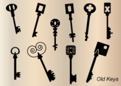 Old Key Silhouettes Vector Free
