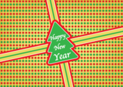 Christmas Tree Present Sticker with Happy New Year Lettering