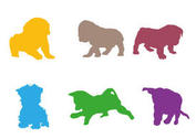 Colorful Puppy Vector Silhouettes