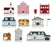 Vector houses city icons