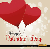 Valentine's Day heart balloons card