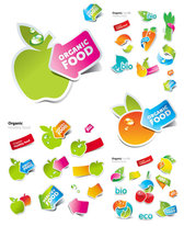 Cute Stickers Of Fruits And Vegetables Vector Apple Arrow Carrots