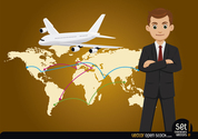 Businessman with Global Map and Airplane