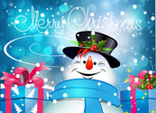 Xmas Snowman with Gift Boxes on Bokeh Background
