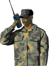 Soldier with walkie talkie radio (tall)