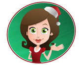 Woman Vector Character with Holiday Hat