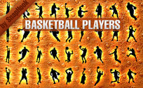 36 Basketball Players Silhouettes