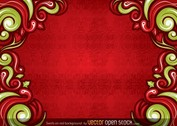 Free Vector Swirls on Red Background