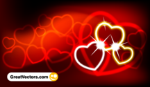Valentine's Day Red Abstract Background with Hearts Vector Art