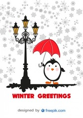 Winter Greeting Card Cartoon penguin with Red Umbrella
