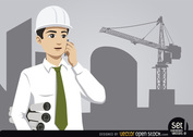 Engineer with construction and crane