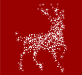 Magic Christmas Reindeer with Stars on Red Background