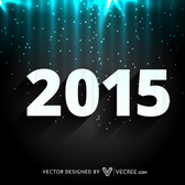 2015 New Year on Glowing Night Background