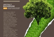 Vector closeup of a paper hole with tree and grass background