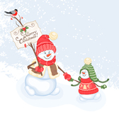 Cartoon snowman for Christmas and Happy New Year 2014