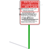 No dumping sign with signpost and shadow