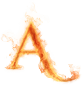 "Burning letter ""A"" PSD"
