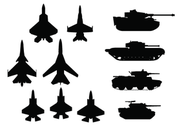 Tanks and Plane Silhouettes
