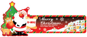 Santa Holding Card Comic Style Christmas Banner