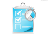 Checklist with stopwatch icon (PSD)