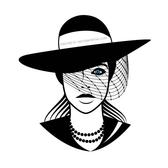 LADY WITH BLACK HAT VECTOR GRAPHICS.eps