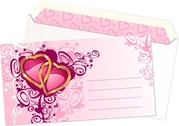 Pink heart-shaped pattern envelope