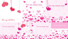 Lovely Romantic Valentine's Day Greeting Cards Vector Material Pink Heart Love
