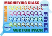 Rainbow Magnifying Glass Vector Pack