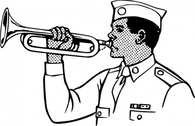 Young Man Playing On A Bugle