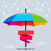 Rainbow umbrella banner