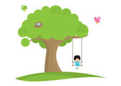 Girl Swinging In Tree