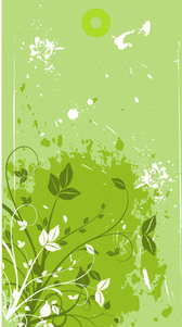 Green Floristic Banner with Grungy Stains