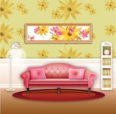Vector Stylish Wallpaper Home Living Room Sofa