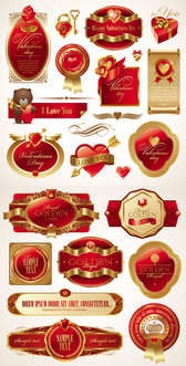 Romantic Valentine's Day Red Label - Vector Romantic Valentine's Day Red