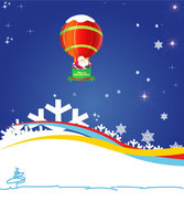 Santa Claus Flying by Air Balloon on Blue Background