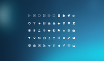 50 White Mini Glyph Icons Pack PSD