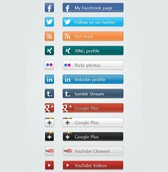 12 Amazing Social Share Buttons with Icons Set PSD