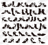 A variety of women's fashion shoe silhouette