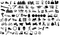 Series Of Black And White Design Elements Vector Graphic -12 (Item Silhouette)