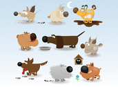 Chien drôle Cartoon Illustrations vectorielles (gratuites)