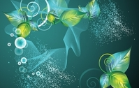 Abstract Green Swirl Floral