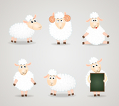 6 white cartoon sheep