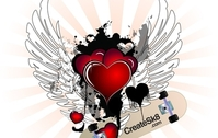Valentine Hearts with Angel Wings